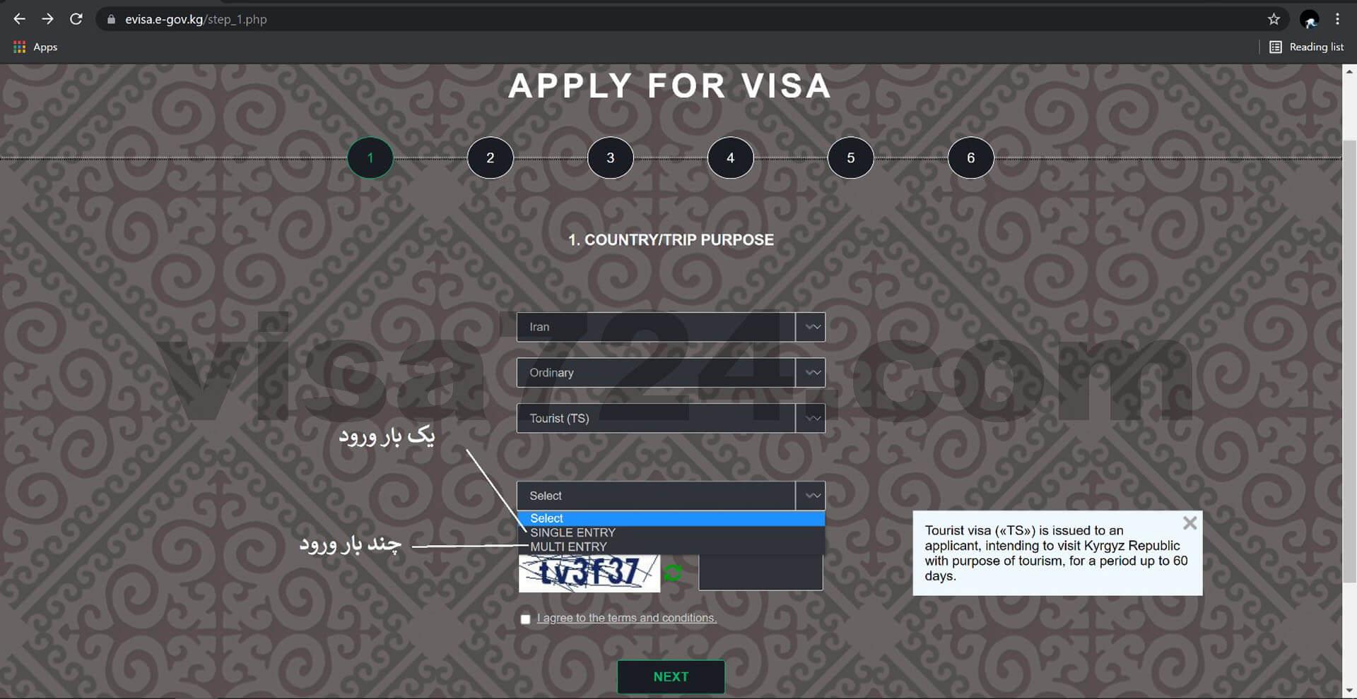 آموزش ثبت درخواست ویزای توریستی قرقیزستان
