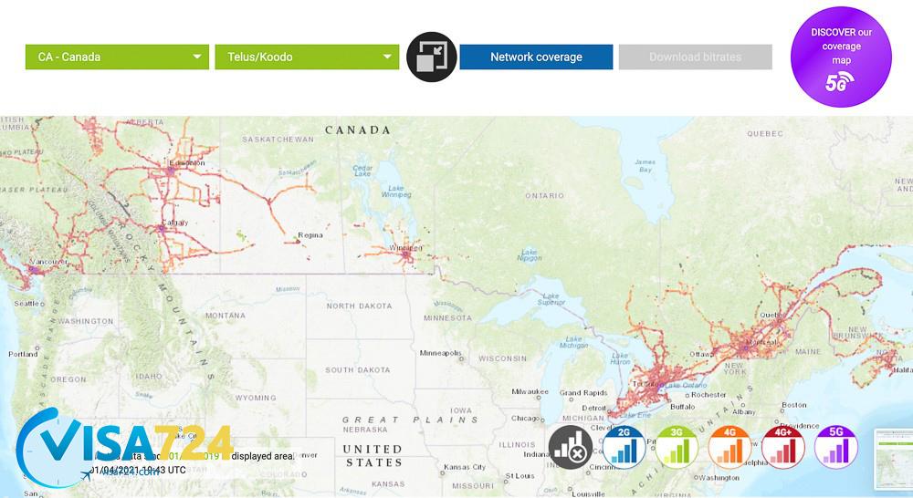 پوشش شبکه Telus Mobility کانادا