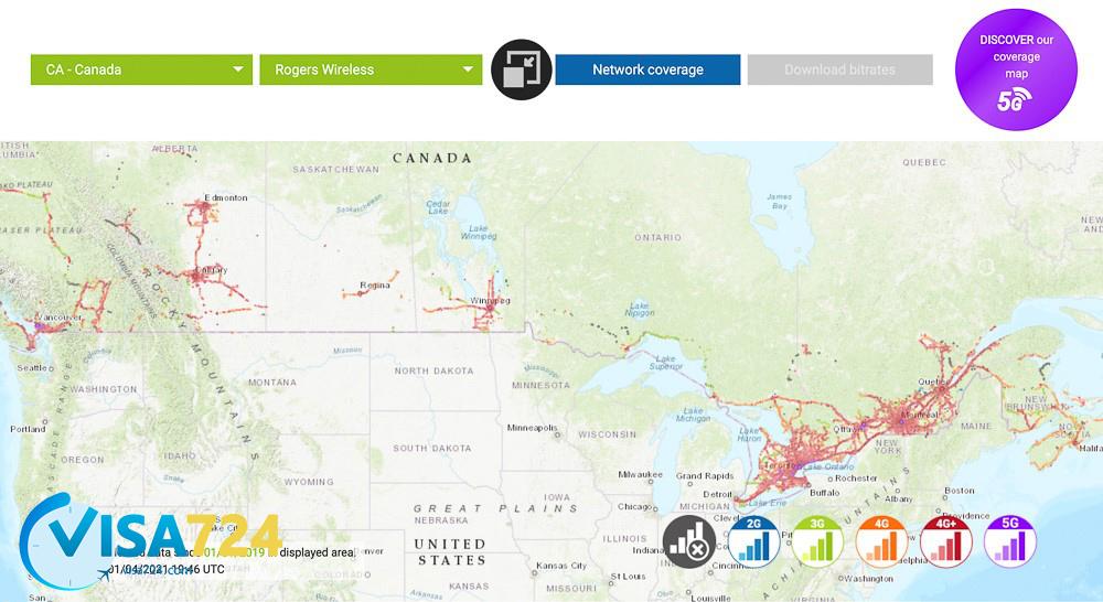 پوشش شبکه Rogers Mobility Canada