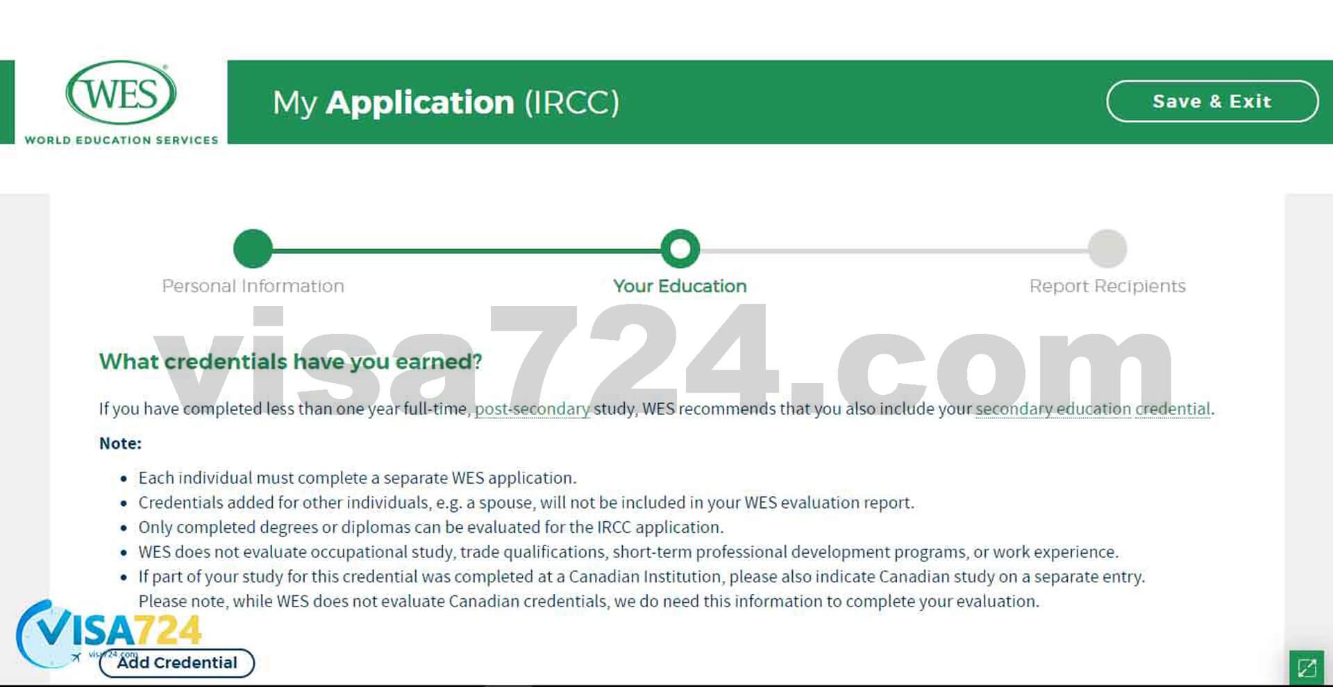 تصویر هشتم از مراحل آموزش نحوه دریافت تأییدیه از WES کانادا