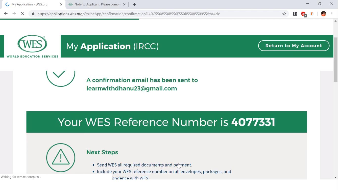 دریافت تأییدیه از WES کانادا