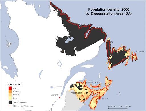 تراکم جمعیت کانادا