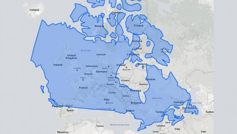 مقایسه مساحت کانادا و اروپا